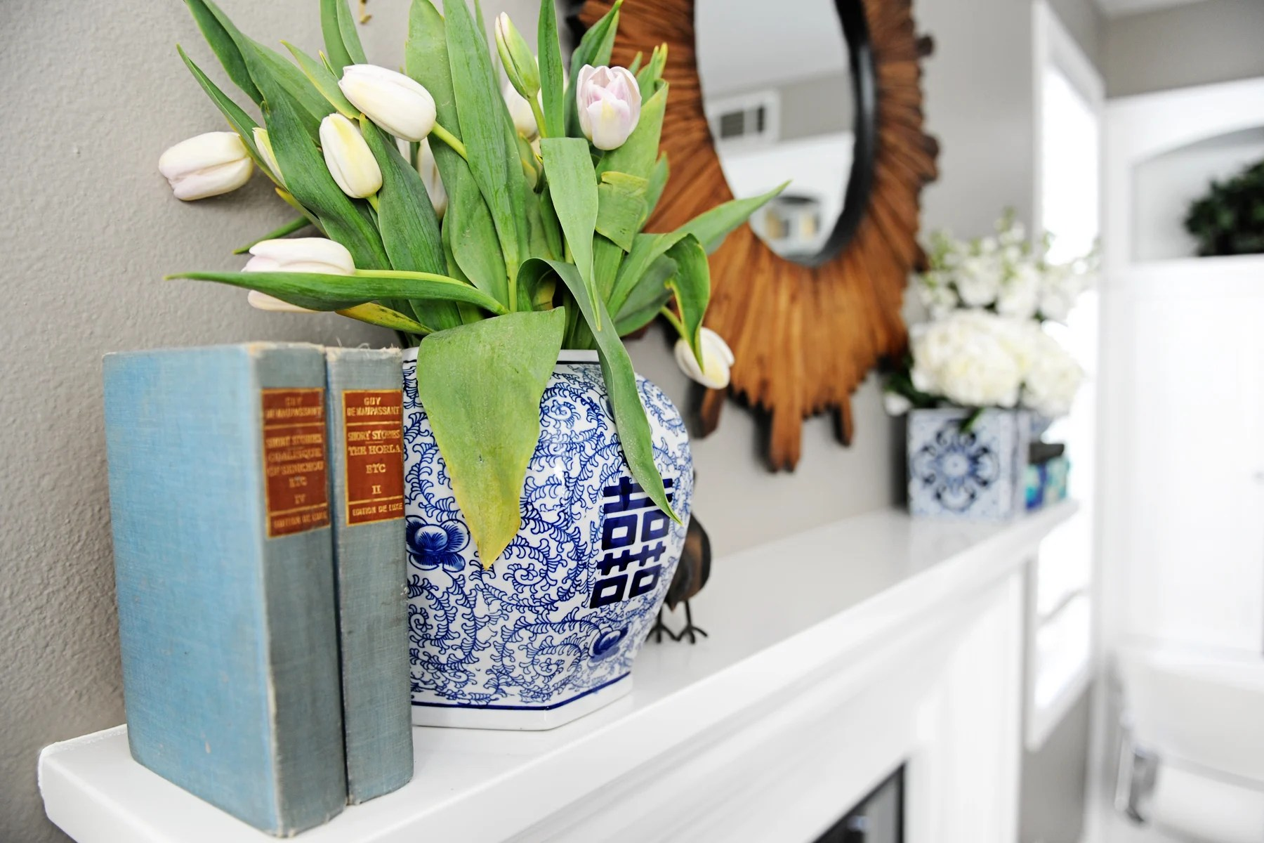 The Moody Blues… a Blue Mantel Re-do with Chinese Urns