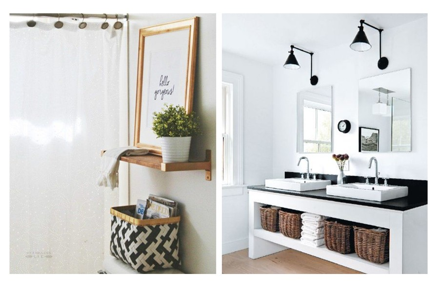 ideas for creating extra storage in the bathroom with baskets