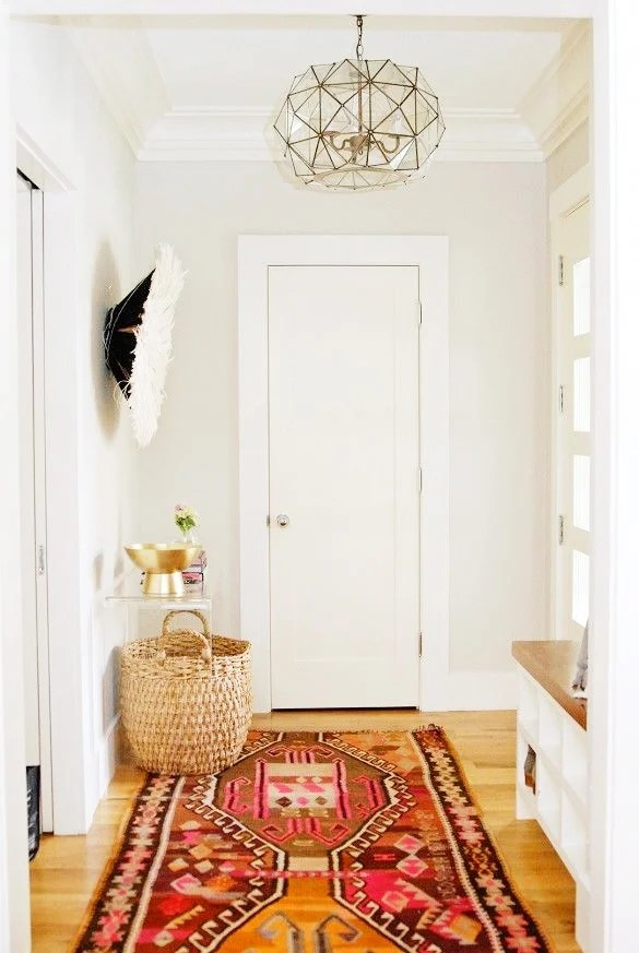 kilim rugs in an entryway domaine home