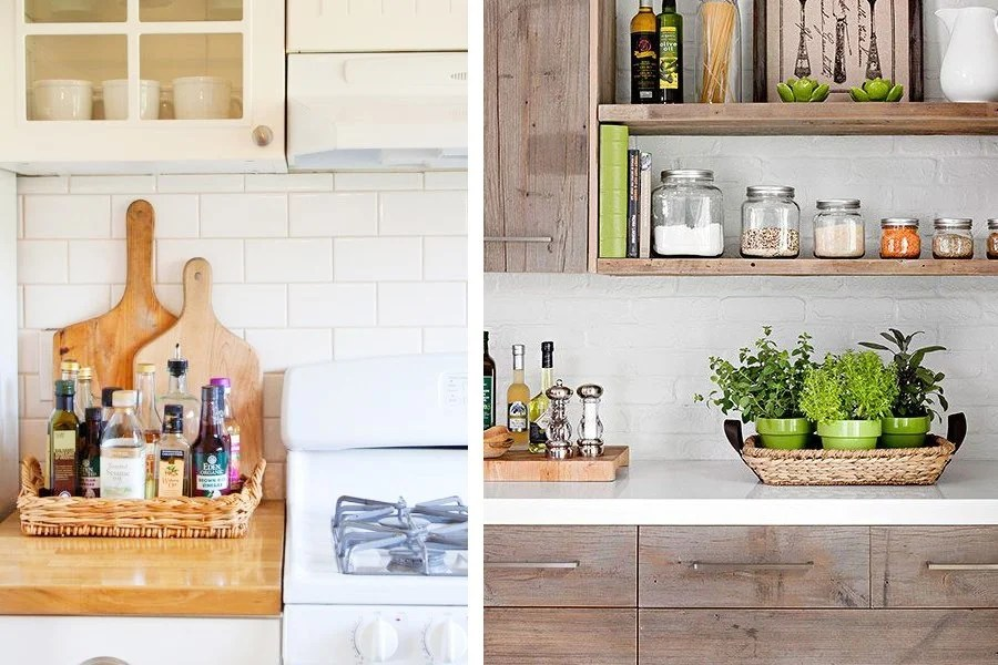 ideas for using baskets for storage in the kitchen