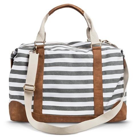 cute striped weekender bag