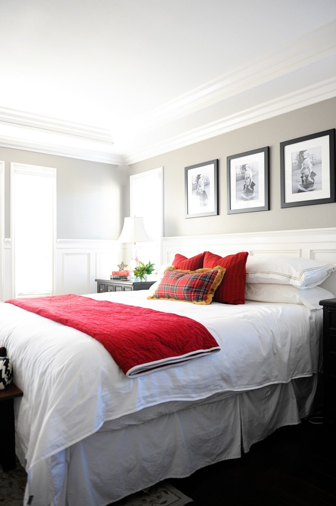 christmas master bedroom makeover holiday bedding Pink peppermint design