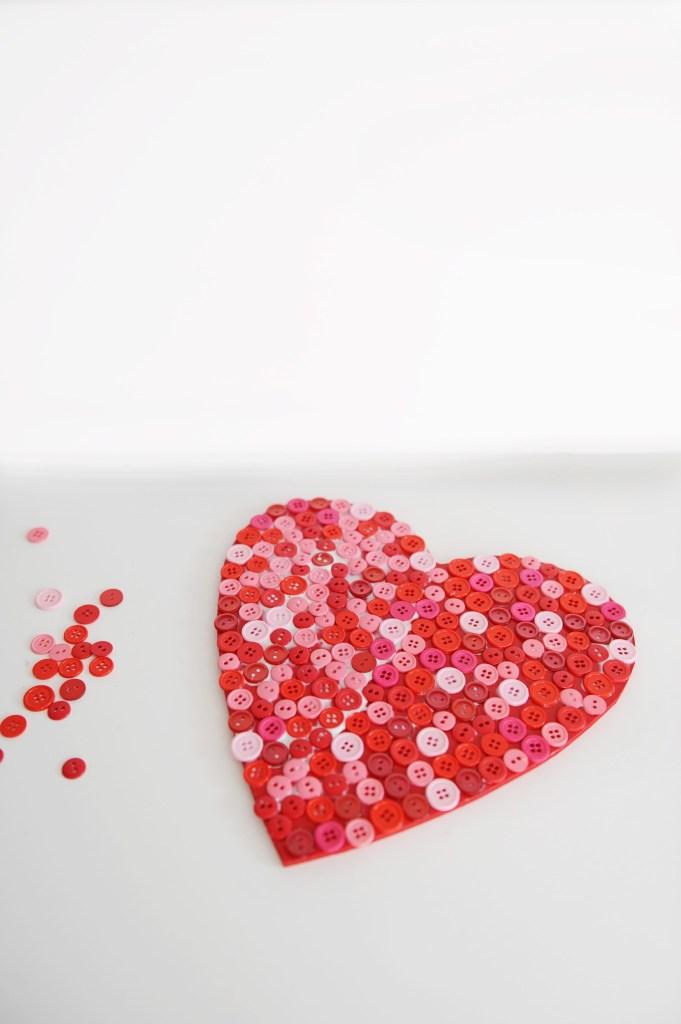 DIY Valentine Craft Wood Button Heart Decoration