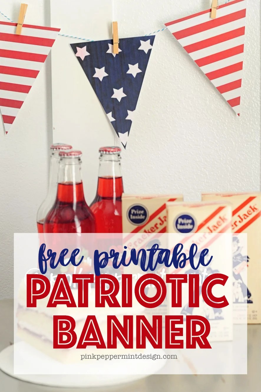 Stars and Stripes Forever 4th of July Printable Pennant Banner