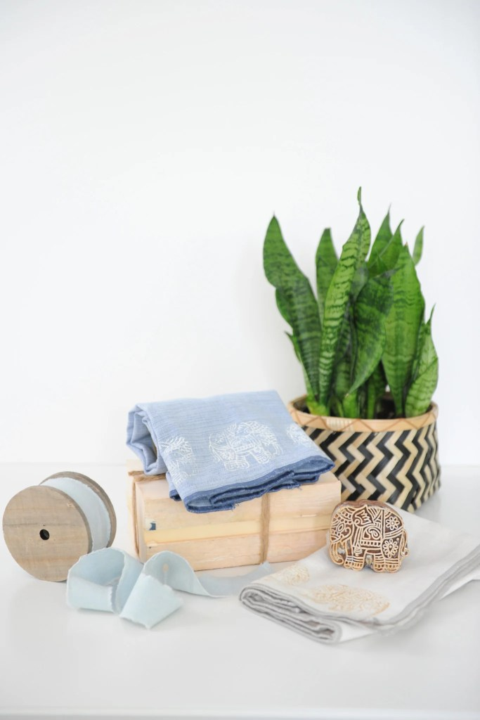 DIY wood block stamped towels