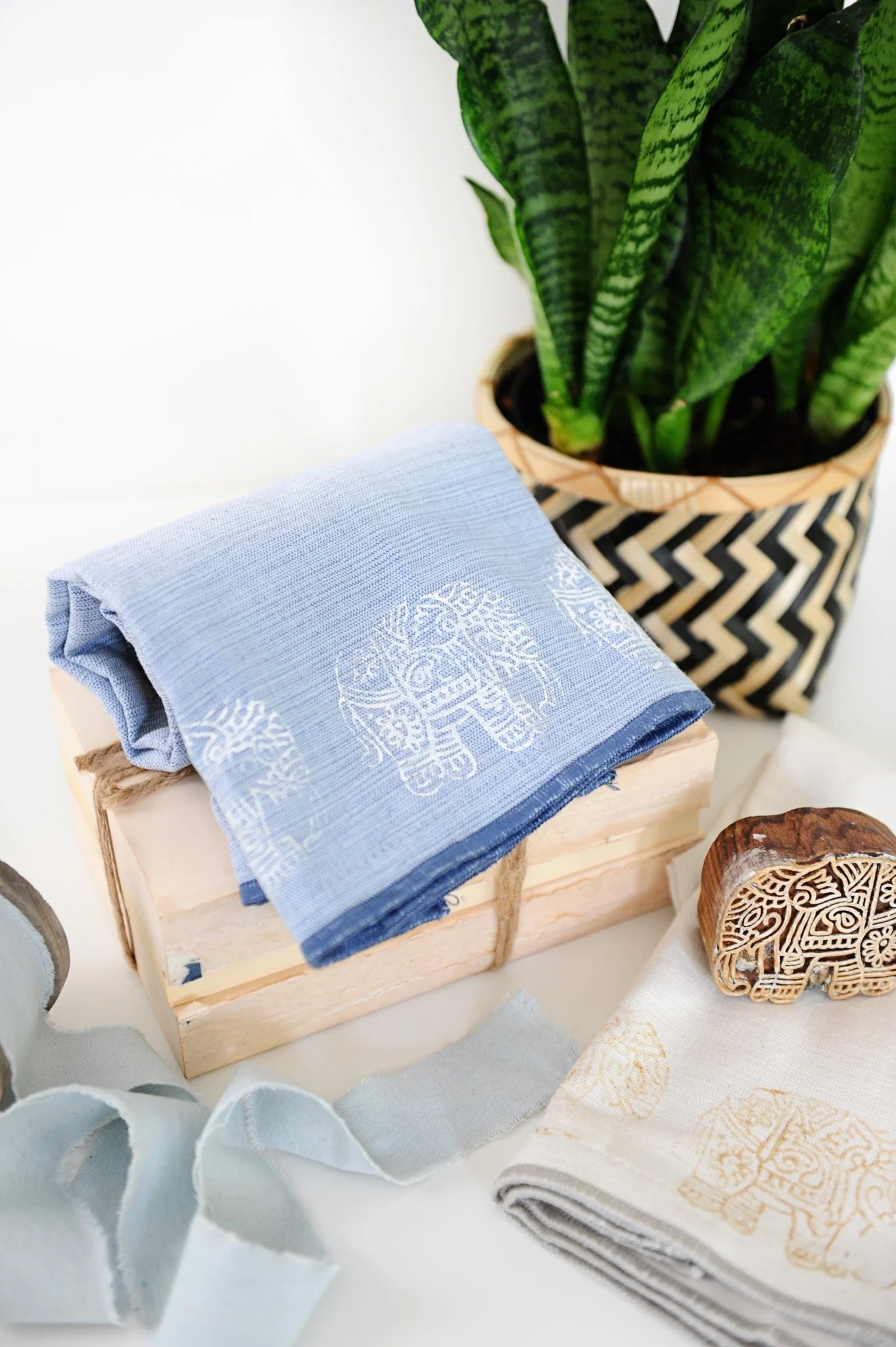 DIY Block Print Towels