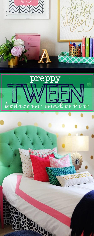Tween Girl Bedroom Preppy Design / Decor Ideas (Pink, Navy ...