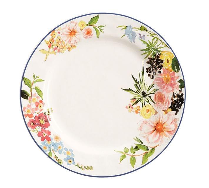 Floral rim dinner plate set of 4 o