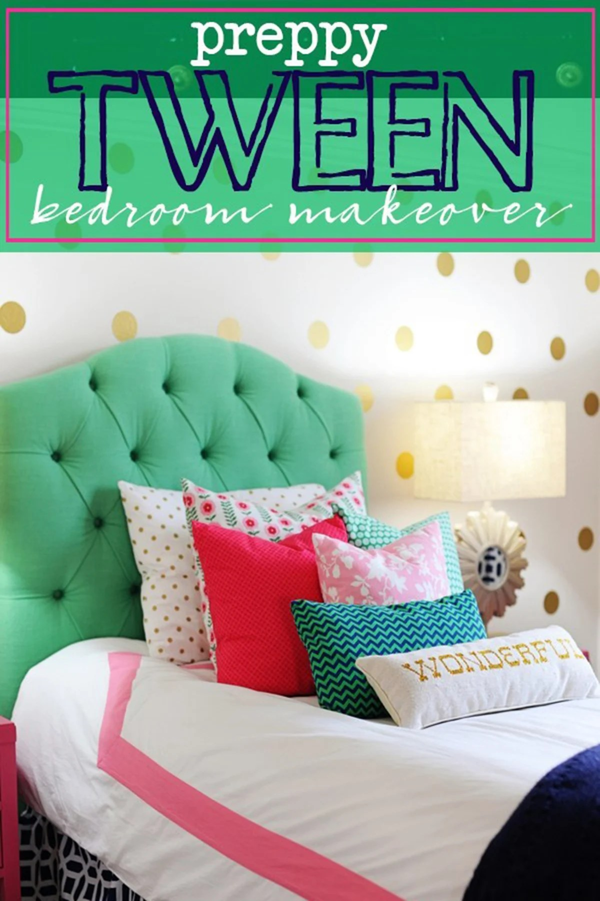 Tween Girl Bedroom Preppy Design / Decor Ideas (Pink, Navy, Green)