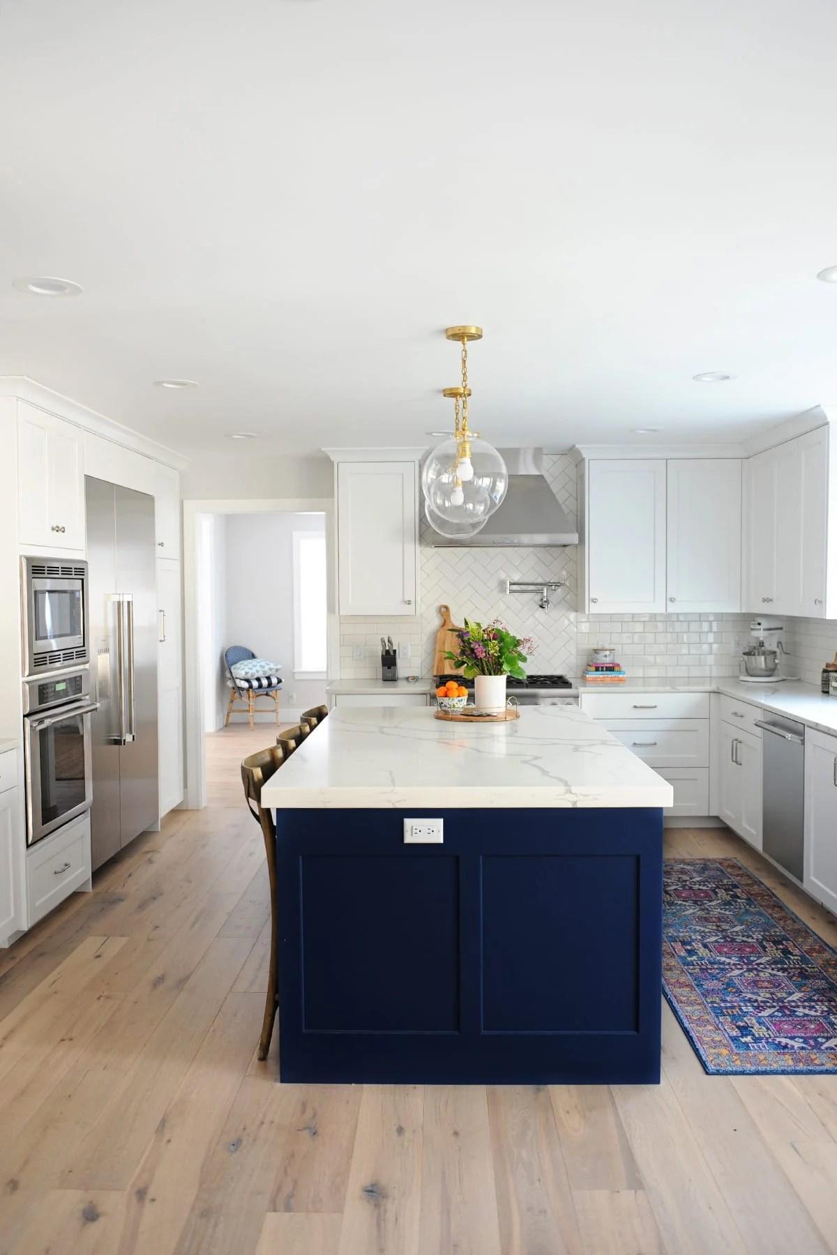 navy blue kitchen island