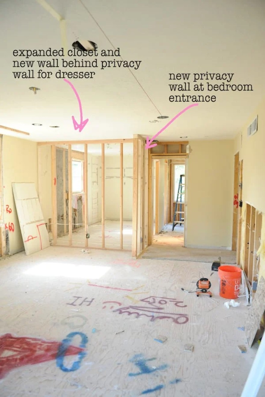 Master bedroom remodel with text