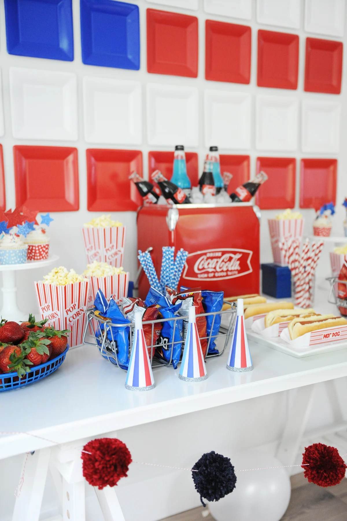 Patriotic Party Decorating Ideas Red White And Blue Party Pink
