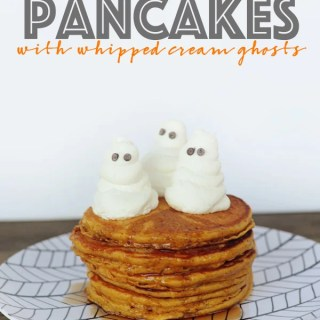 Easy pumpkin pancake recipe wih whipped cream ghosts 2 copy