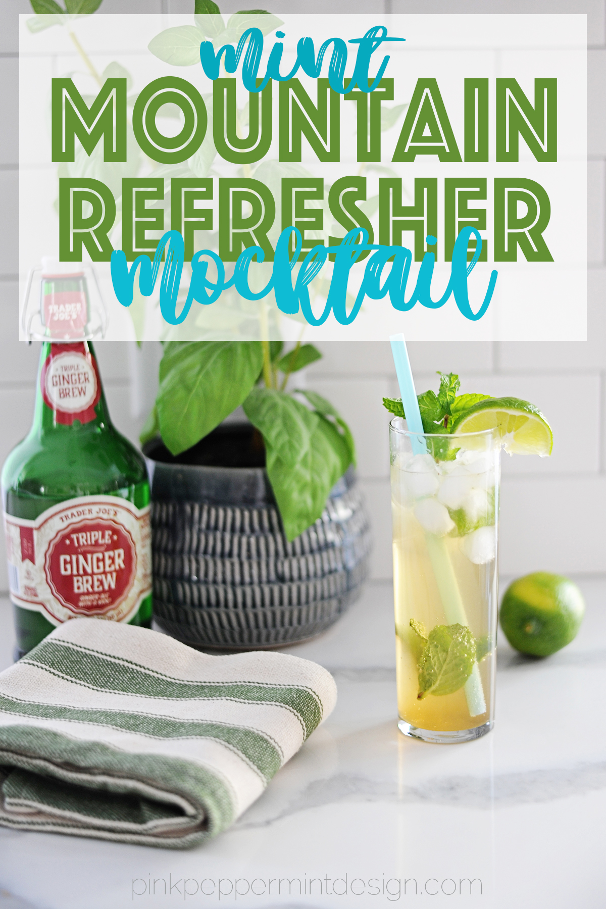 Delicious Ginger Mocktail with Mint & Lime
