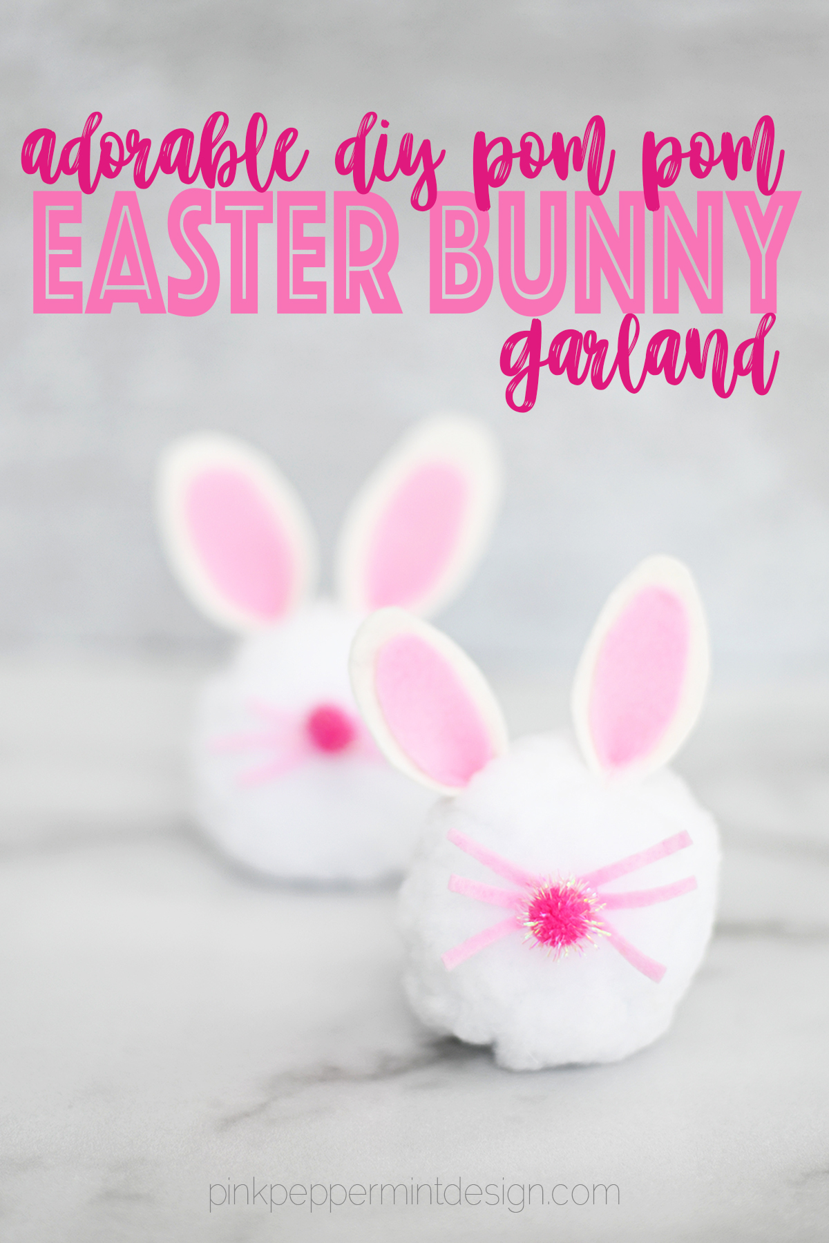 DIY Easter Decorations : Bunny Pom Pom Garland