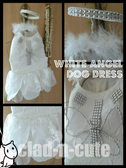 WHITE ANGEL DOG DRESS