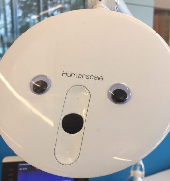 desk lamp with googly eyes