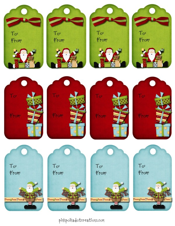 Christmas Gift Tags Pink Polka Dot Creations