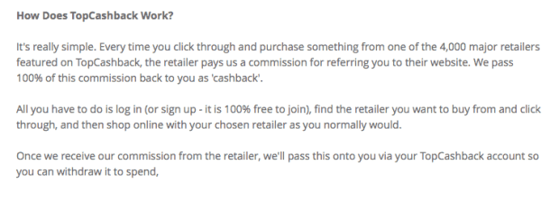 topcashback explaination about how you get free money