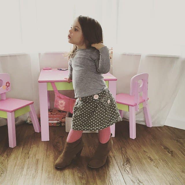Thea in mummy's shoes