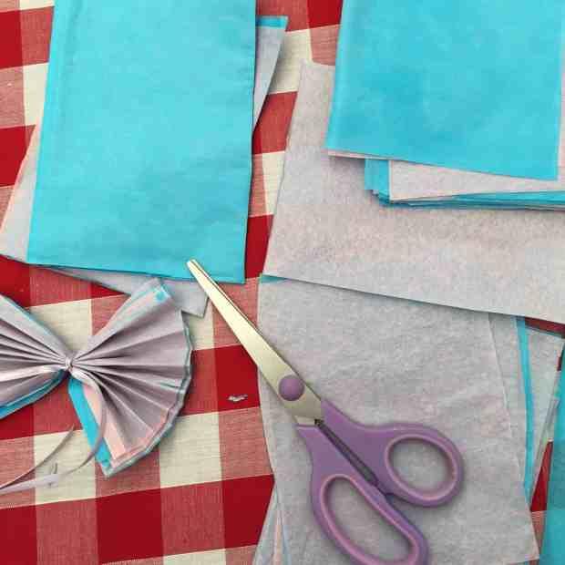 The materials to make paper pom poms