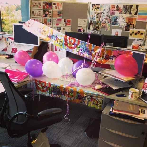 Becky Pink's desk on her leaving day