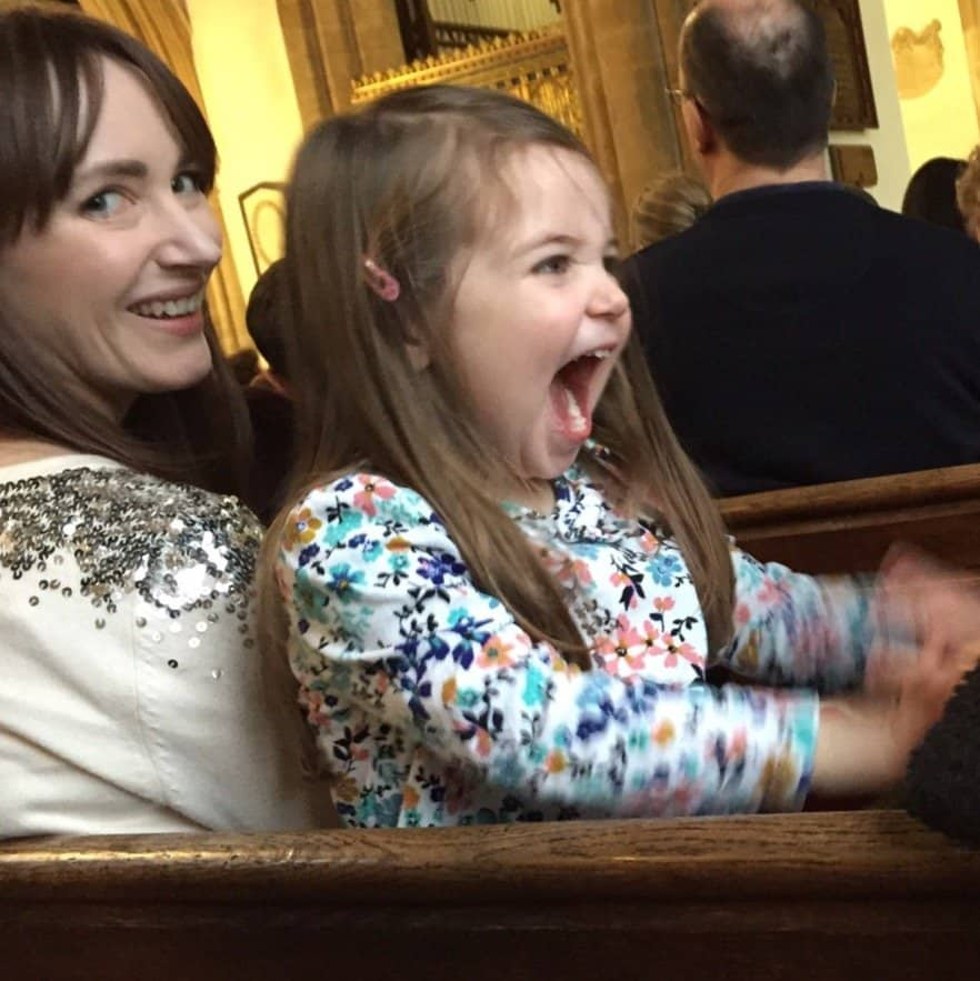 Thea making a racket at the Carol Service