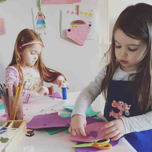 Ava and Thea doing arts and crafts