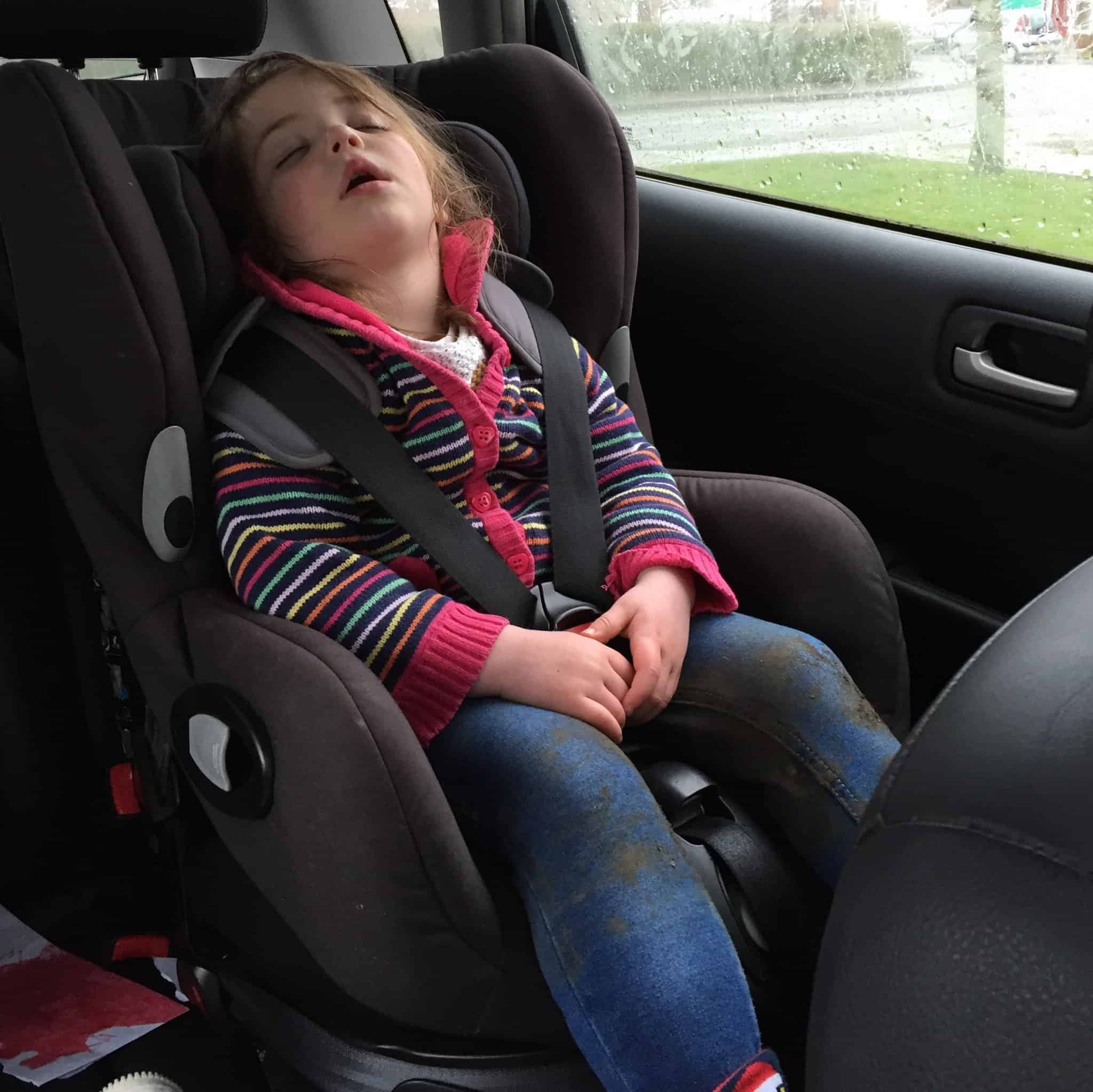 Thea asleep after our woodland adventure