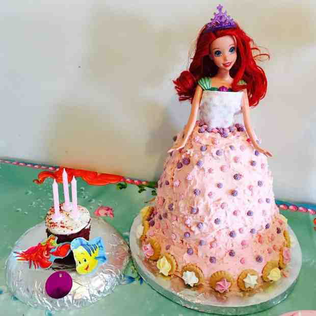 Ariel Little Mermaid Cake and smaller cake for candles