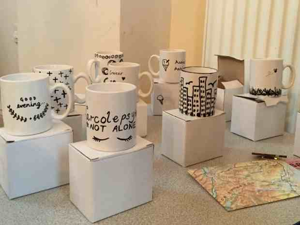 Monochrome mugs at the Berylune Craft Party