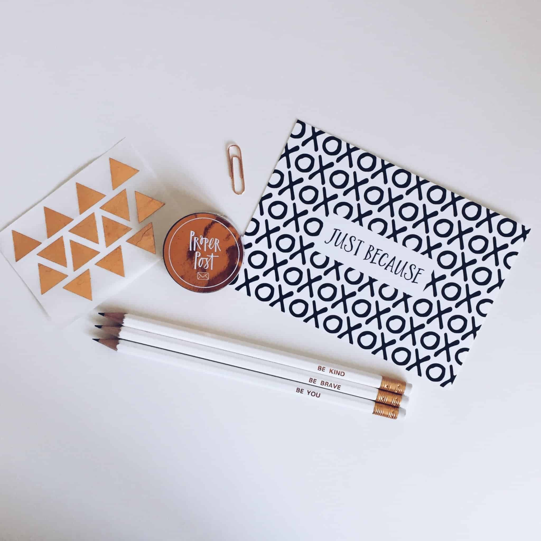 Copper and Monochrome Stationery goodies from Proper Post