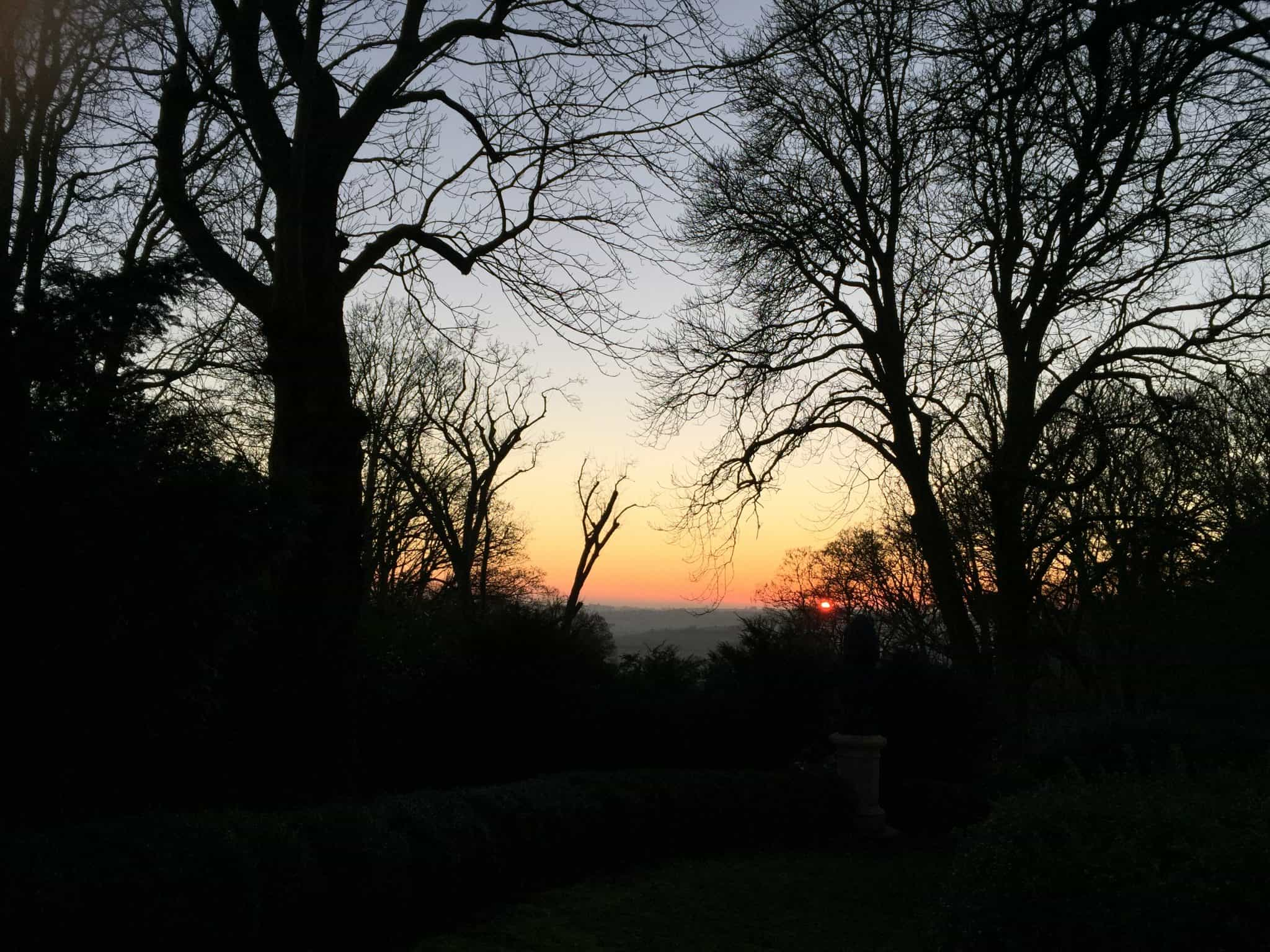The view from Waddesdon Manor at sunset