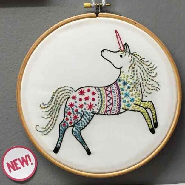 Unicorn embroidery from Hawthorne Handmade