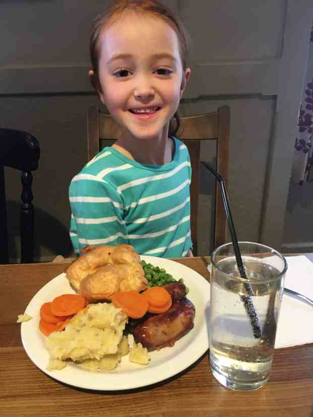 Ava and her Yorkshire pudding and sausages