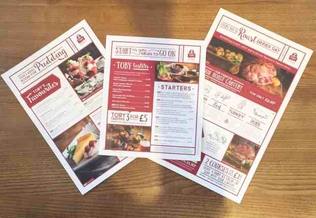 Menus at the Toby Carvery