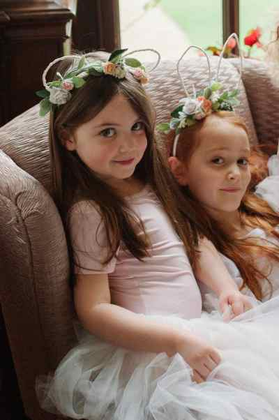 Ava and Thea wearing Mimosa Bridal animal ear headbands