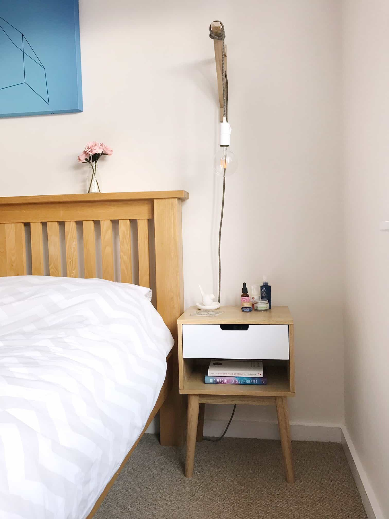 The bedside table and light are the only things we'd keep in our new dream bedroom