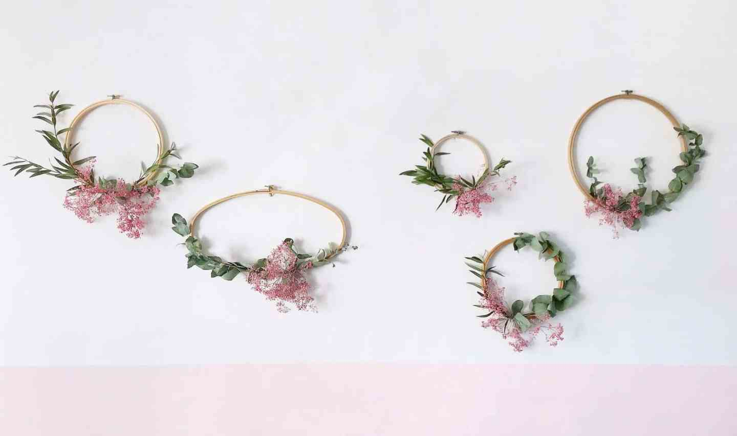 How To Make Wreaths with Embroidery Hoops and Foliage
