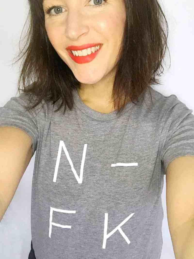 Becky Pink in a Nor-Folk grey tshirt