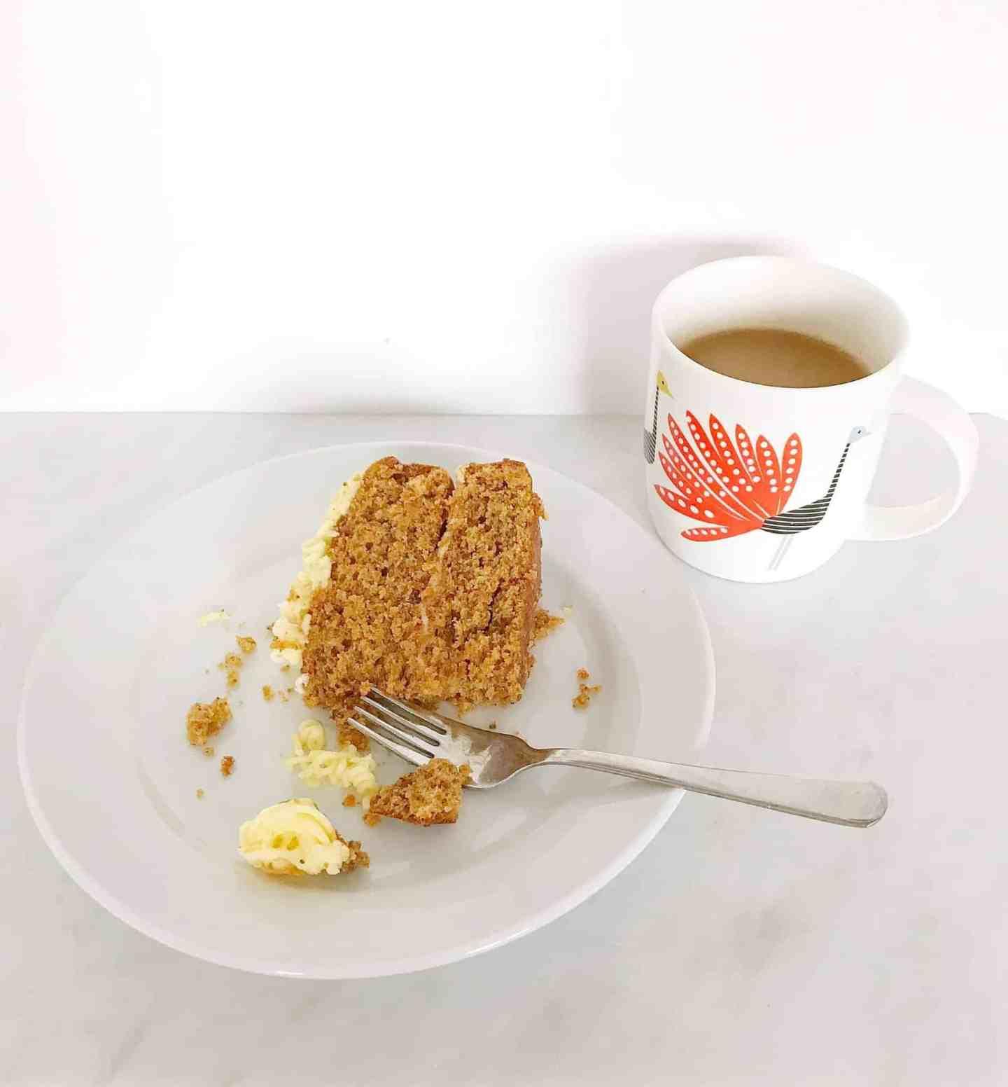 Home made carrot cake with tea