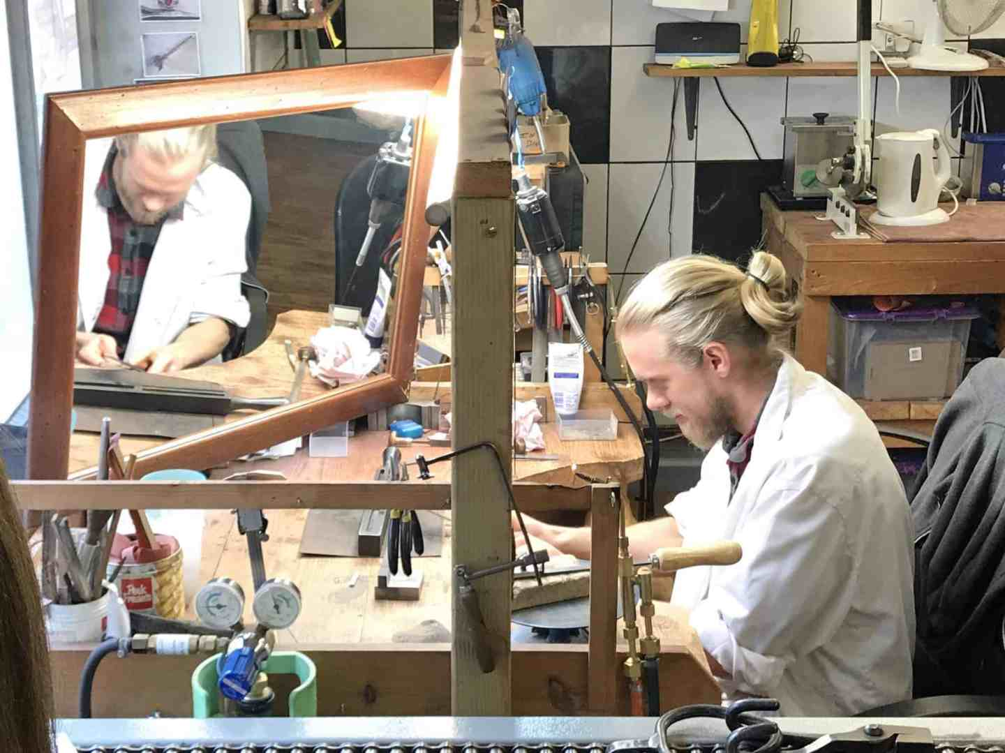 Paul demonstrating jewelley making at The Goldsmithy Goldsmiths