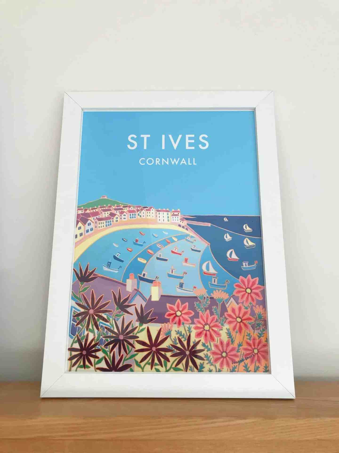 Vintage Style Seaside Travel Poster by Joanne Short of St Ives Harbour gives happy memories of Cornwall