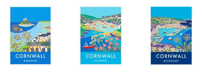 Vintage style Art Prints of Cornwall by Joanne Short