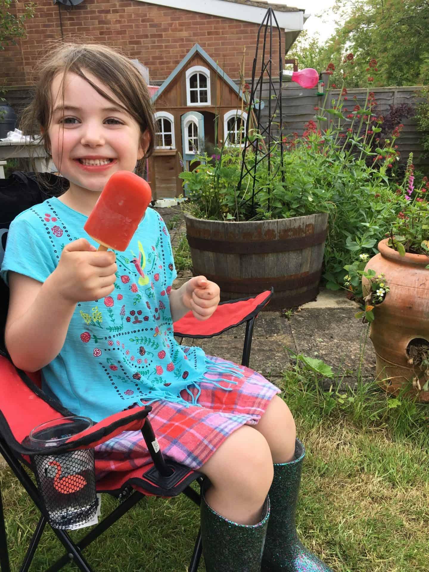 Enjoying a treat after all her hard work gardening