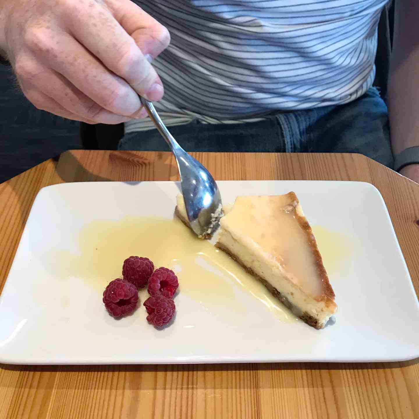Lemon cheesecake from Woody's at Trevornick, near Newquay, Cornwall