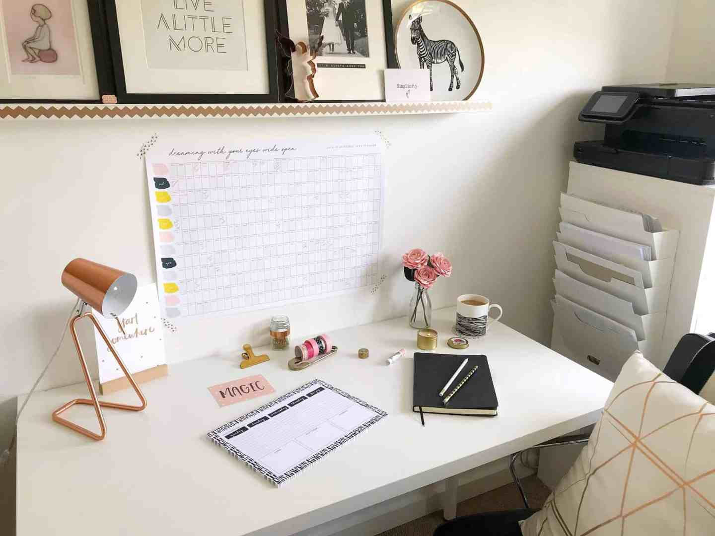 Light, bright monochrome colour scheme helps set up your home office for success