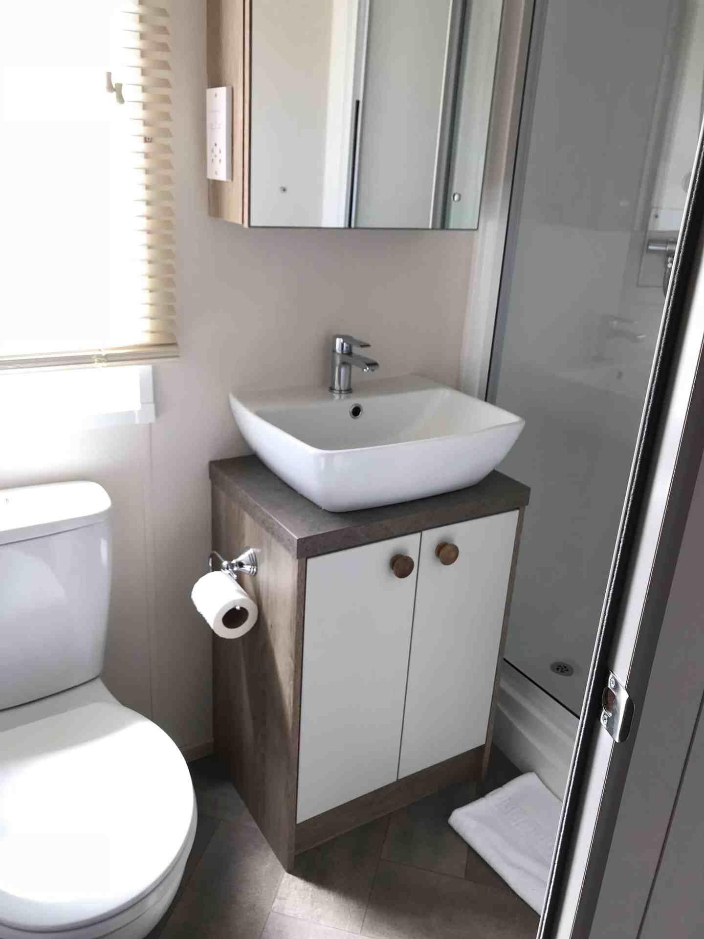 Static caravan shower room at Trevornick, Cornwall