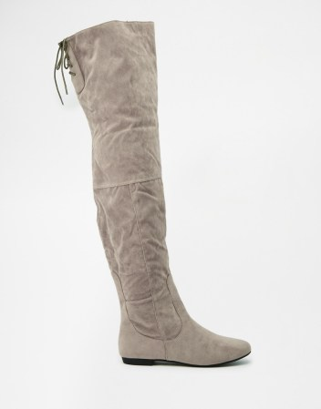 Daisy Street Grey Over The Knee Tie Back Flat Boots