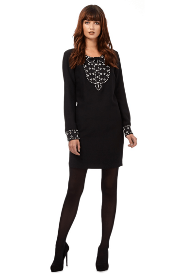 Giles/EDITION Black embellished shift dress